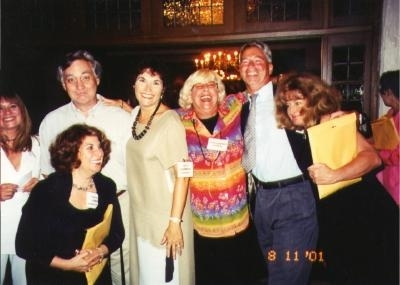 Nancy and '66 classmates having a great time in 2001. Cindy Ellison, Phyllis Teplitz, Jim McLefresh, Alice Nierenberg,