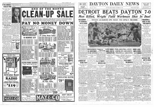 Sunday, October 28, 1928 issue of the Dayton Daily News from the FHS Time Capsule. Photo courtesy  of Dayton Public Scho