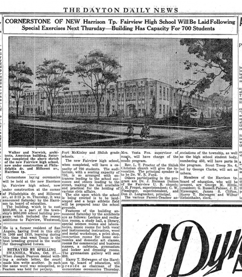 News article about Fairview and the cornerstone laying ceremonies. The write-up was published in the October 28th, 1928