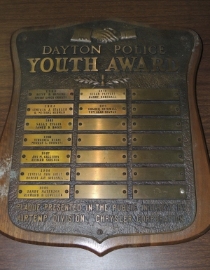 Dayton Police Youth Award circa early 1960's to early 1970's.  Photo Dennis Huddleston, Class of 1965.